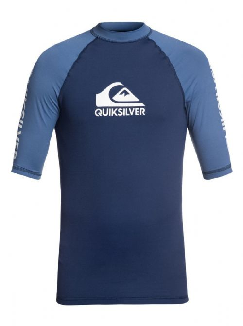 QUIKSILVER MENS RASH VEST.NEW ON TOUR UPF50+ BACKPRINT NAVY TOP T SHIRT 8W 10 BT
